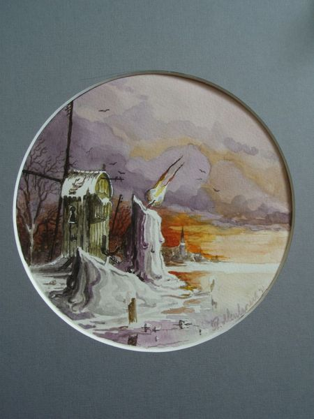 Landschaft, Molens, Winter, Realismus, Kaarsen, Romantiek