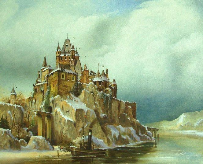 Romantiek, Winter, Dampfboot, Realismus, Fantasie, Burg