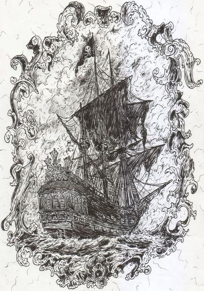 Piratenschiff, Perlen, Schwarz, Seegelschiff, Pirat, Rocaille