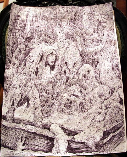 Fährmann, Surreal, Dante, Baum, Kugelschreiber, Bibel