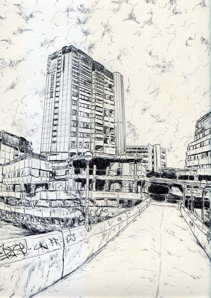Zeichnung, Ihme, Hochhaus, Leine, Wulffcity, Graffiti