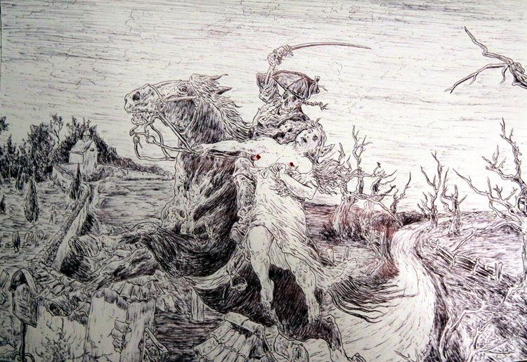 Pferde, Nacht, Frau, Friedhof, Acker, Baum