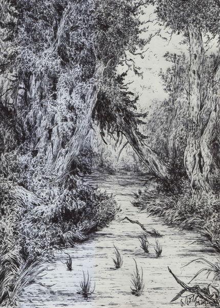 Wald, Baum, Alte meister, Sumpf, Wasser, Romantik