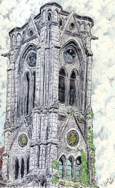 Kapelle, Romantik, Kugelschreiberzeichnung, Antik, Kugelschreiber, Kirche