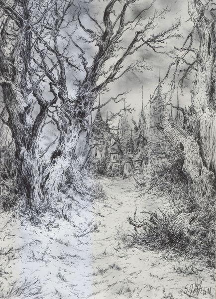 Wald, Romantik, Landschaft, Baum, Alte meister, Dunkel