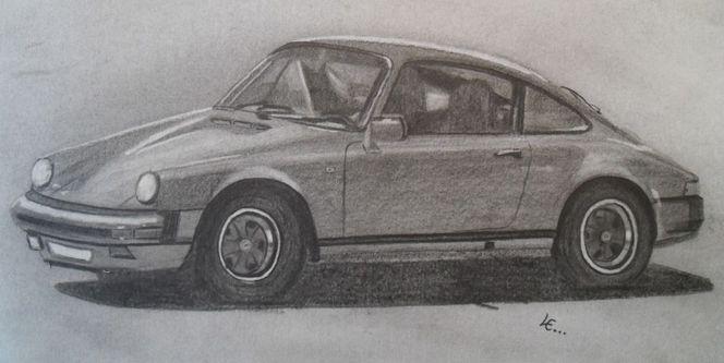 Zeichnung, Reifen, Fenster, Motorhaube, Auto, Oldtimer
