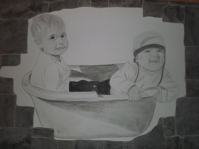 Bleistiftzeichnung, Bruder, Junge, Kind, Portrait, Zeichnungen