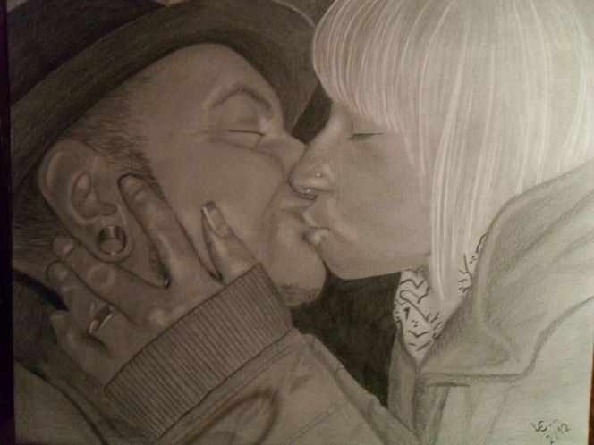 Paar, Piercing, Verlieben, Blond, Freundin, Kuss