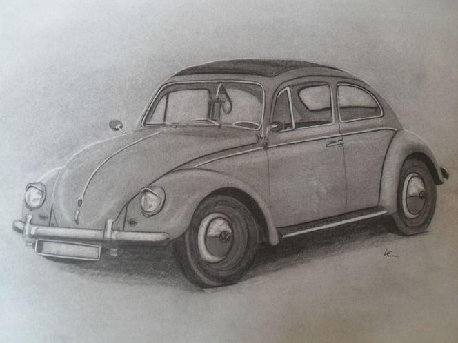 Auto, Zeichnung, Motorhaube, Reifen, Vw, Oldtimer