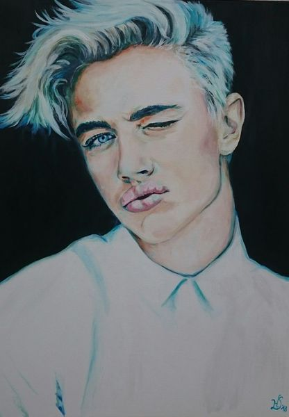 Blond, Portrait, Kuss, Gesicht, Junge, Malerei