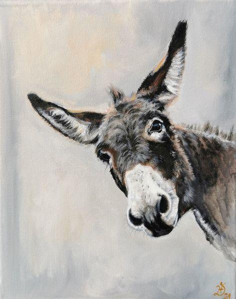 Esel, Portrait, Donkey, Malerei,