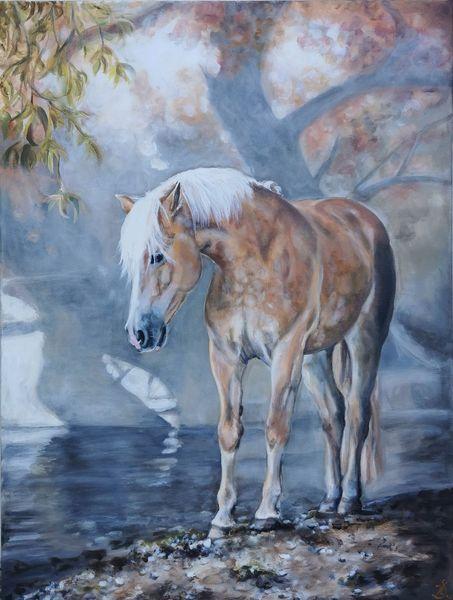 Pferde, Pony, See, Haflinger, Malerei