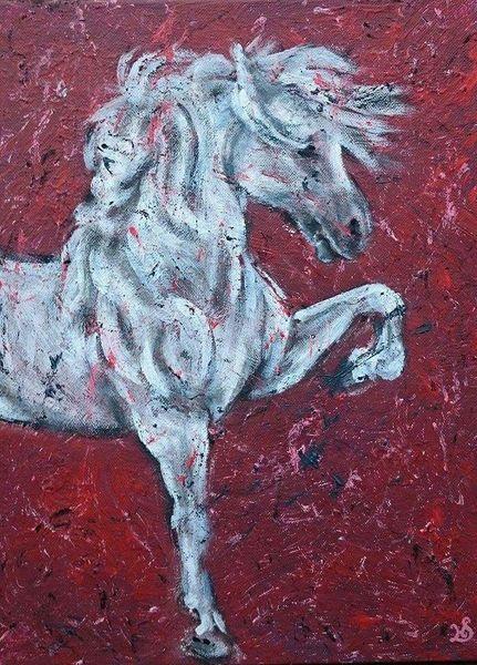 Pferde, Schimmel, Hengst, Malerei