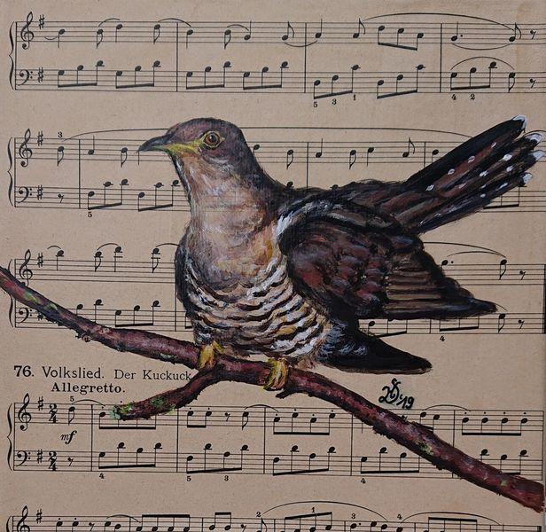 Vogel, Noten, Kuckuck, Malerei