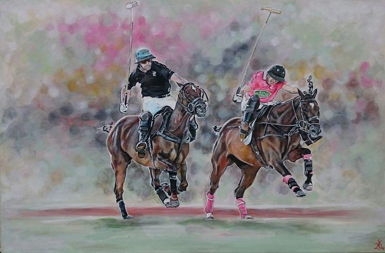 Polosport, Mann, Polo, Pferde, Malerei