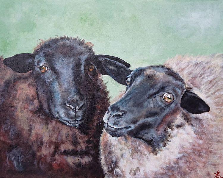 Landschaft, Wolle, Lindgrün, Schaf, Malerei