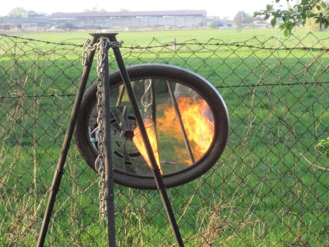 Wiese, Feuer, Gras, Fotografie, Spiegel, Flammen