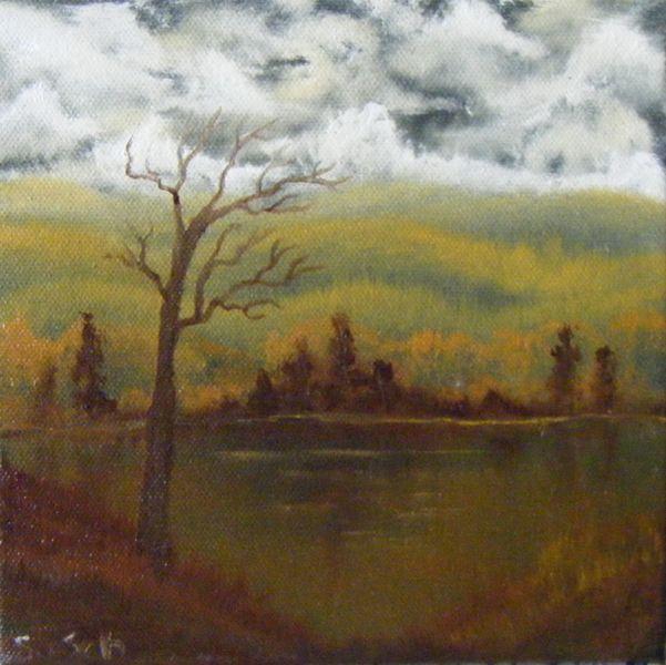 Herbst, Ölmalerei, Nass, Technik, Malerei