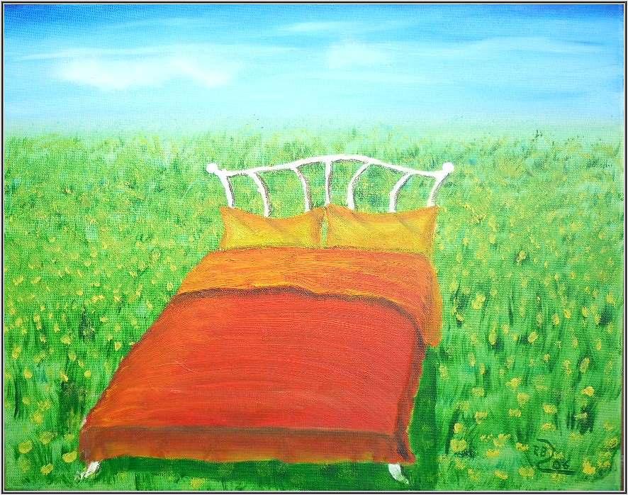 bild bett feld natur blumen von aqua bei kunstnet. Black Bedroom Furniture Sets. Home Design Ideas