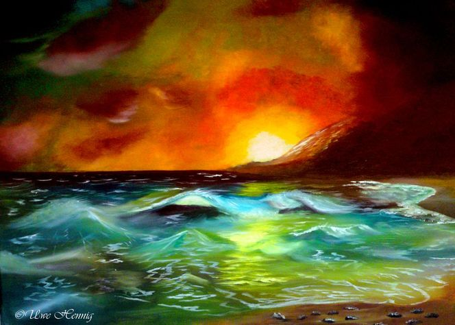 Meer, Welle, Landschaft, Sonnenuntergang, Ölmalerei, Strand