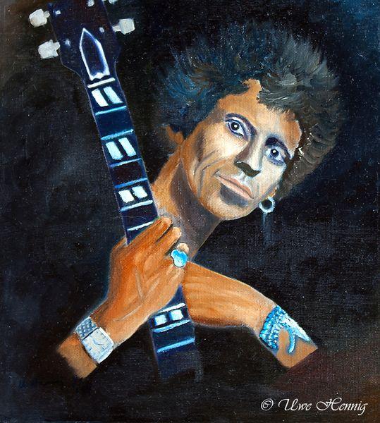 Malerei, Portrait, Gitarre, The rolling stones, Ölmalerei, Gitarrist