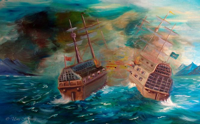 Blau, Schlacht in atlantik, Meer, Ölmalerei, Schiff, Wolken