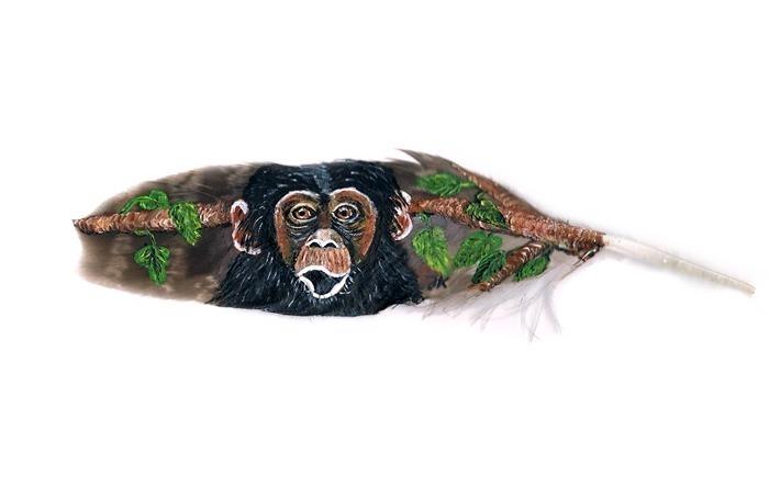 Schimpanse, Affe, Wald, Malerei