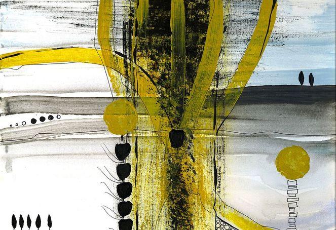 Abstrakte kunst, Weitblick, Gelb, Horizont, Schwarz, Abstrakt
