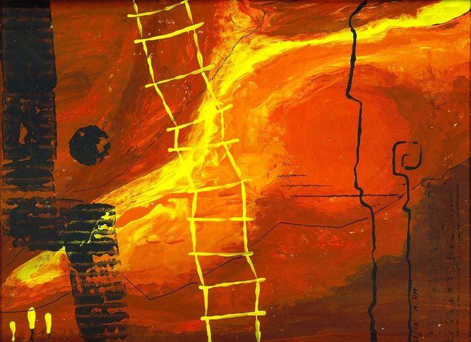 Abstrakte malerei, Leiter, Gelb, Zeitgenössisch, Abstrakte kunst, Warm