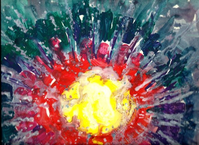 Blau grün, Rot, Abstrakt, Sonne, Warm, Abstrakte malerei