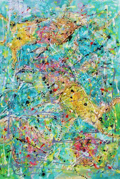 Dekoration, Ocker, Acrylmalerei, Struktur, Bunt, Abstrakt