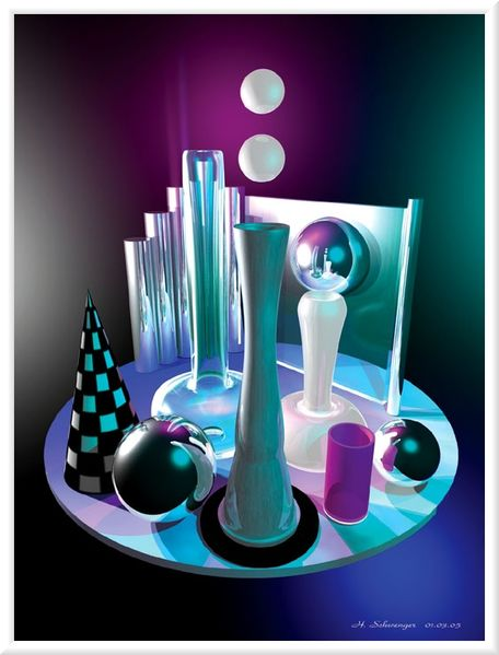 Grafik, Digital galerie, Kunstdruck computerkunst, Modellbau, Rendering, Chromeffekt