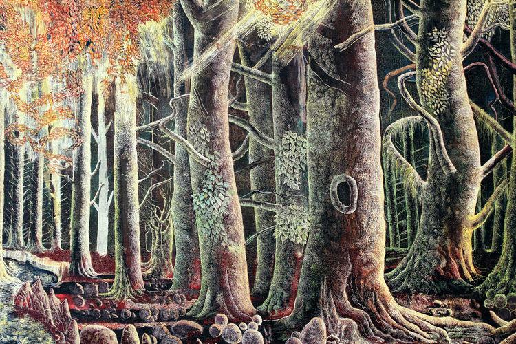 Zauberwald, Herbstwald, Wald, Baum, Malerei