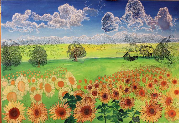 Sommer, Wolken, Sonnenblumen, Bauernhof, Pflanzen, Alpen