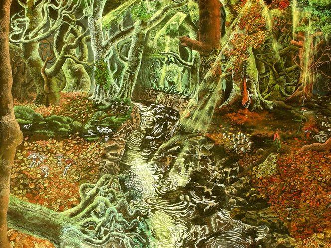 Wald, Blätter, Zauber, Fluss, Herbst, Malerei
