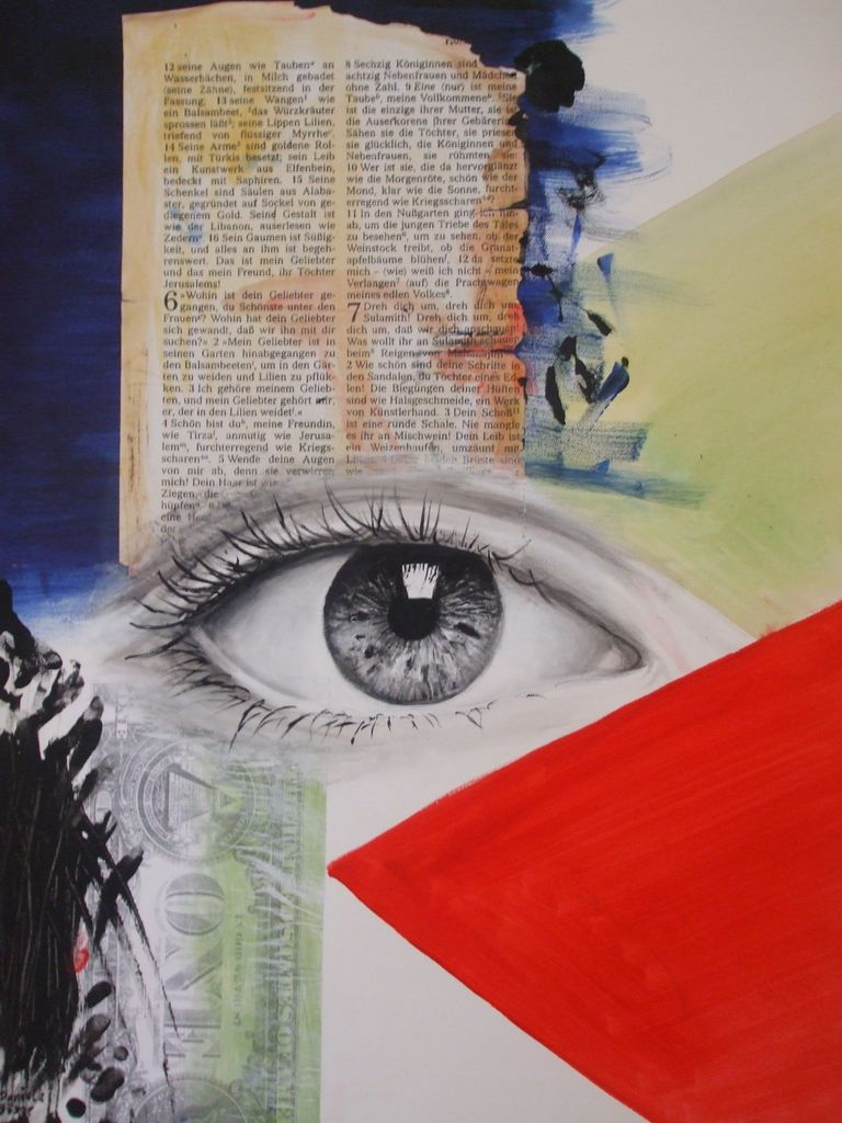Wir Augen Collage Combine Painting Rot Von Danibo Bei Kunstnet