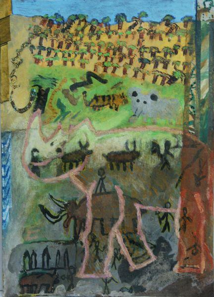 Collage, Afrika, Montage, Gouachemalerei, Schüler, Malerei