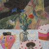 Blumenvasen, Torten tortenmensch, Tischdecke mit muster, Abstrakter einbruch