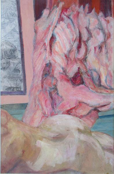 Draussen schmusende, Geöffnet hängende, Bäuchlinks liegende, Malerei, Trotz