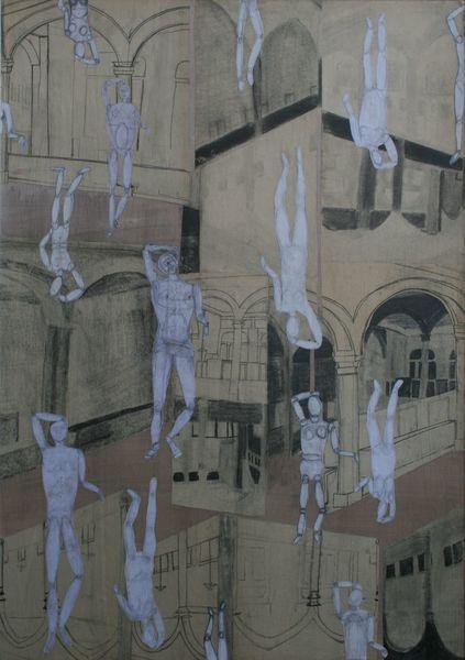 Menschen, Architektur, Auf und ab, Zeichnungen