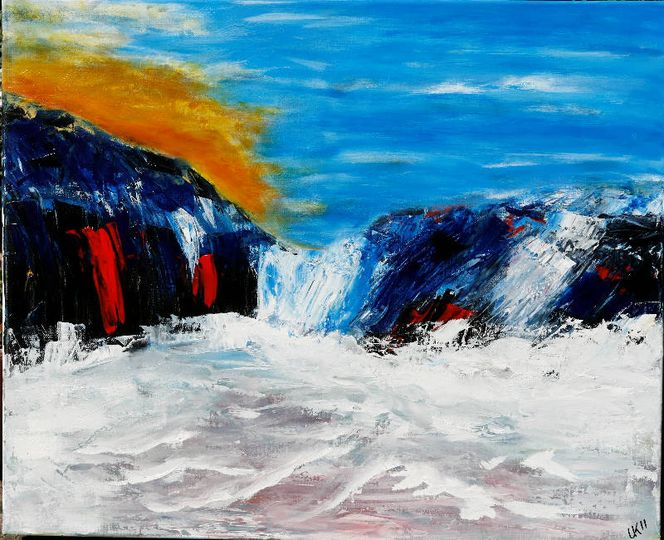 Landschaft, Küste, Acrylmalerei, Bewegung, Sturm, Malerei