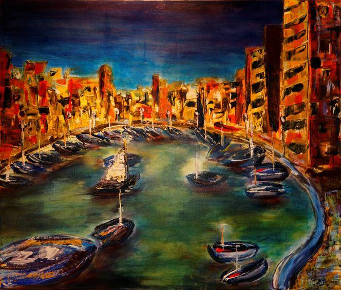 Acrylmalerei, Stadtansicht, Malta, Hafen, Meer, Malerei