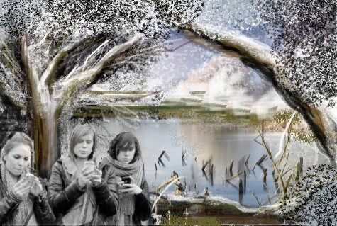 Teich, Winter, Digitale kunst, Satire,