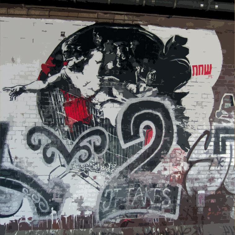 bild berlin graffiti street stadt von andrea leddin bei kunstnet. Black Bedroom Furniture Sets. Home Design Ideas