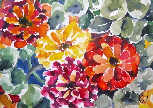 Blumen, Aster, Aquarellmalerei, Malerei, Pflanzen