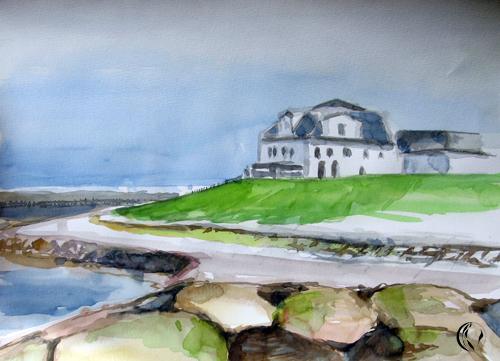 Nordsee, Aquarellmalerei, Landschaft, Dagebüll, Malerei