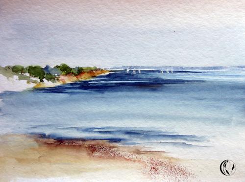 Aquarellmalerei, Kollund, Landschaft, Malerei