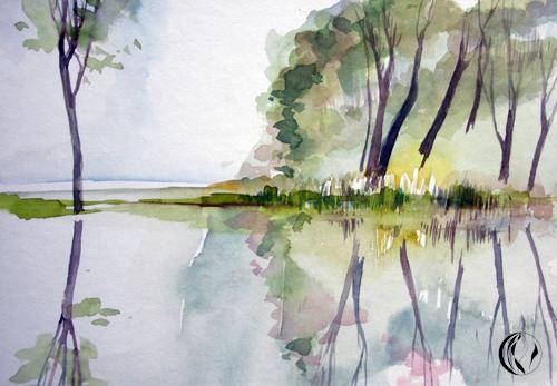 Landschaft, Ruhe, Aquarellmalerei, Malerei
