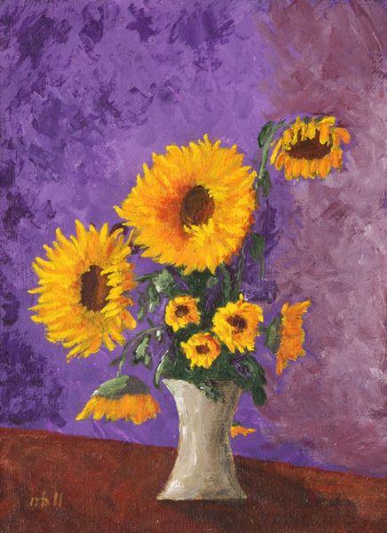 Sonnenblumen, Licht, Schatten, Acrylmalerei, Impressionismus, Blumen