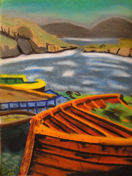 Boot, Kahn, Irisch, Angler, Irland, Nachen